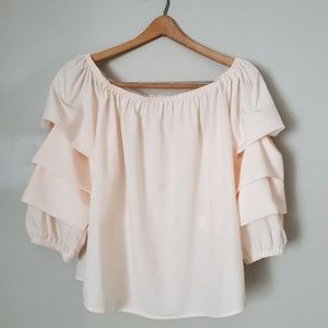 Elodie off the shoulder pink ruffle top